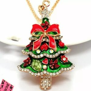 NWT Betsey Johnson Christmas Tree Sweater Necklace